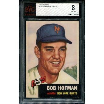 1953 Topps Baseball #182 Bobby Hofman BVG 8 (NM-MT) *0886