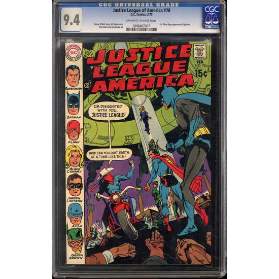 Justice League of America #78 CGC 9.4 (OW-W) *0098407007*