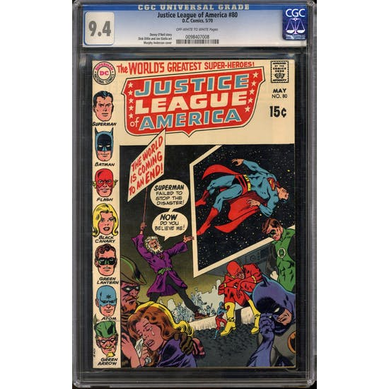 Justice League of America #80 CGC 9.4 (OW-W) *0098407008*