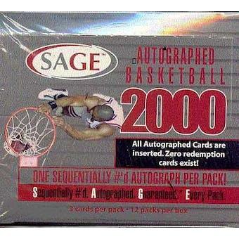 2000/01 Sage Autographed Basketball Hobby Box