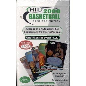 2000/01 Sage Hit Basketball Hobby Box