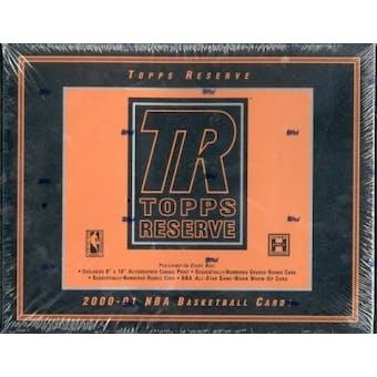 2000/01 Topps Reserve Basketball Hobby Box