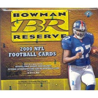 2000 Bowman Reserve Football Hobby Box