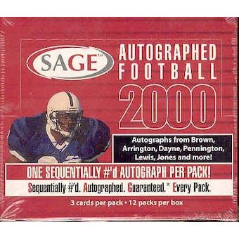 2000 Sage Autographed Football Hobby Box