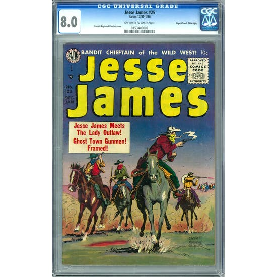 Jesse James #25 CGC 8.0 (OW-W) Edgar Church (Mile High) *0153449002*
