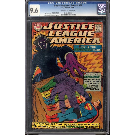 Justice League of America #59 CGC 9.6 (OW-W) *0168400008*