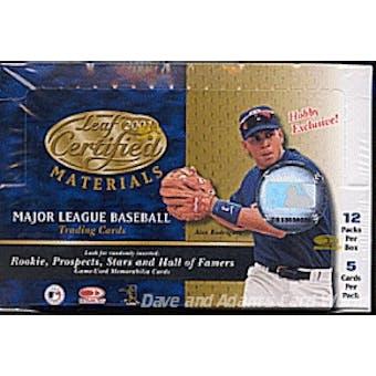 2001 Leaf Certified Materials Baseball Hobby Box