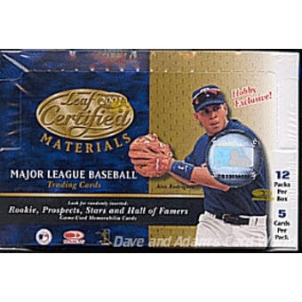 2001 Leaf Certified Materials Baseball Hobby Box