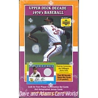 2001 Upper Deck Decade Of The 70's Baseball Hobby Box