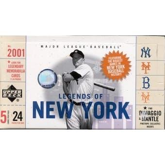 2001 Upper Deck Legends Of New York Baseball Hobby Box