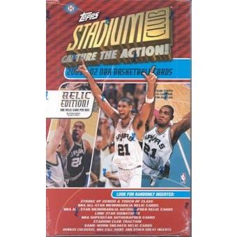 2001/02 Topps Stadium Club Relic Edition Basketball Hobby Box