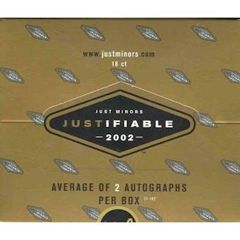 2002 Just Minors Justifiable Baseball 18 Pack Box