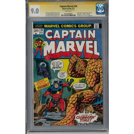 Captain Marvel #26 CGC 9.0 (W) Stan Lee Signature Series *0253968009*