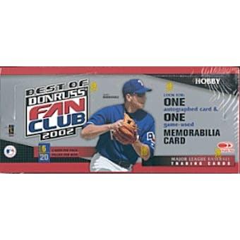 2002 Donruss Best Of Fan Club Baseball Hobby Box