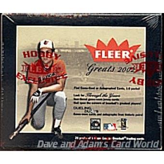 2002 Fleer Greats Of The Game Baseball Hobby Box