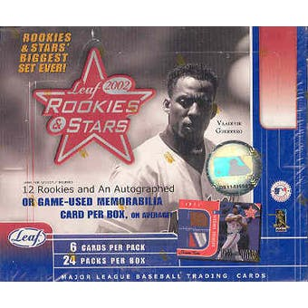 2002 Leaf Rookies & Stars Baseball 24 Pack Box