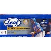 2002 Leaf Baseball Hobby Box (Reed Buy)