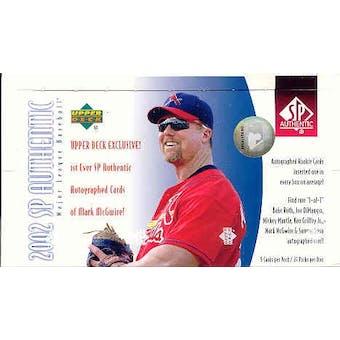 2002 Upper Deck SP Authentic Baseball Hobby Box