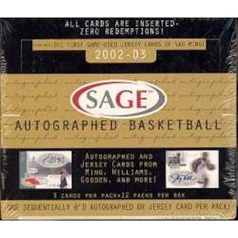 2002/03 Sage Autographed Basketball Hobby Box