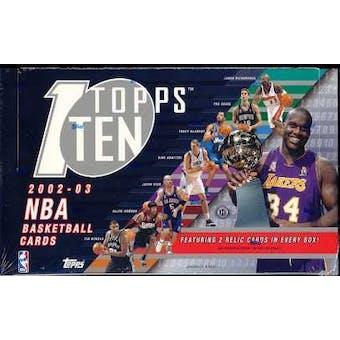 2002/03 Topps Ten Basketball Hobby Box