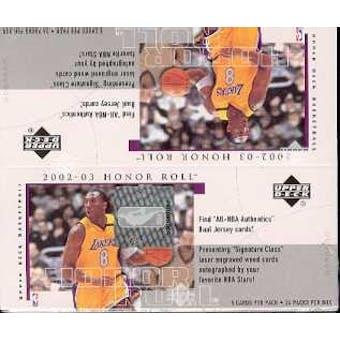2002/03 Upper Deck Honor Roll Basketball 24 Pack Box