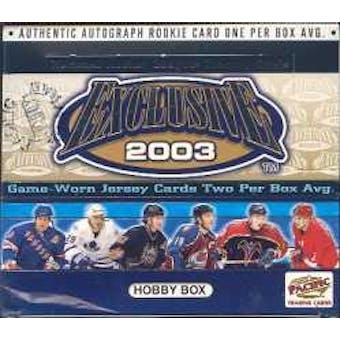 2002/03 Pacific Exclusive Hockey Hobby Box