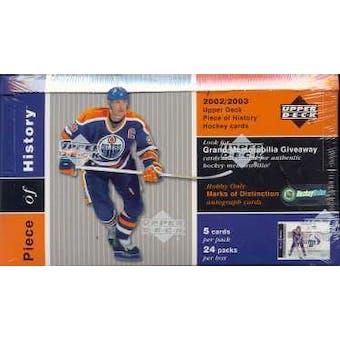 2002/03 Upper Deck Piece Of History Hockey Hobby Box
