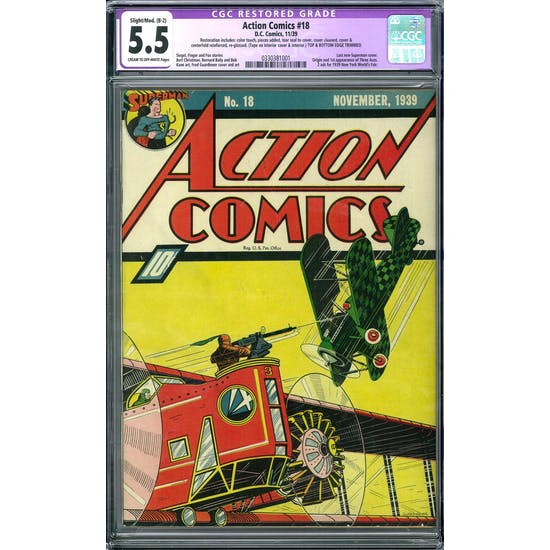 Action Comics #18 CGC 5.5 Slight/Mod. (B-2) Restoration (C-OW) *0330381001*