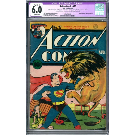 Action Comics #27 CGC 6.0 Slight (A-1) Restoration (OW) *0330381002*