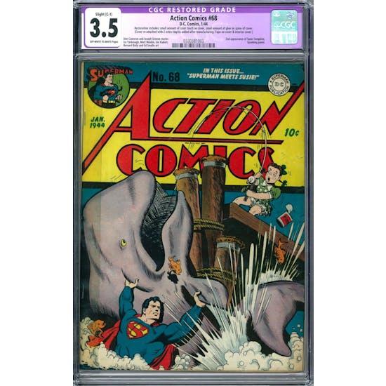 Action Comics #68 CGC 3.5 Slight (C-1) Restoration (OW-W) *0330381003*