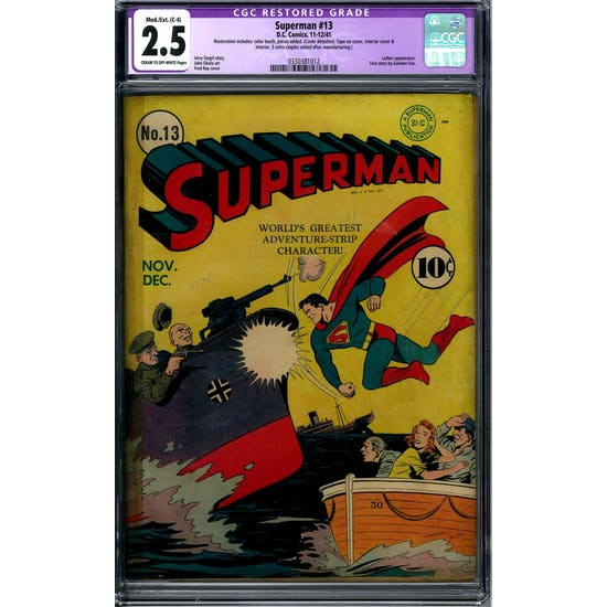 Superman #13 CGC 2.5 Mod./Ext (C-4) Restoration (C-OW) *0330381012*