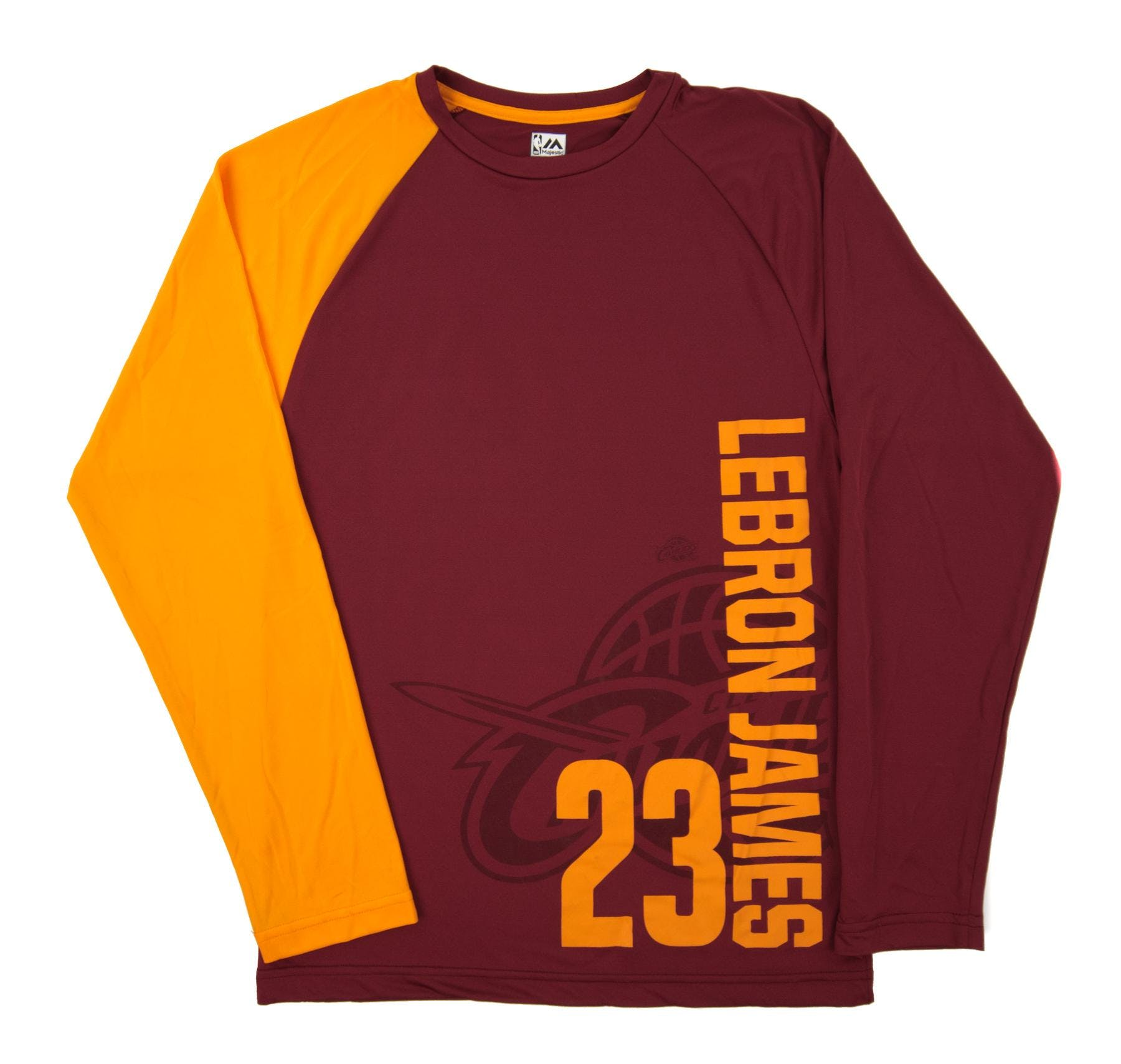dc0efecf8 Cleveland Cavaliers LeBron James Majestic Swift Pass Maroon Performance LS Tee  Shirt (Adult Small)