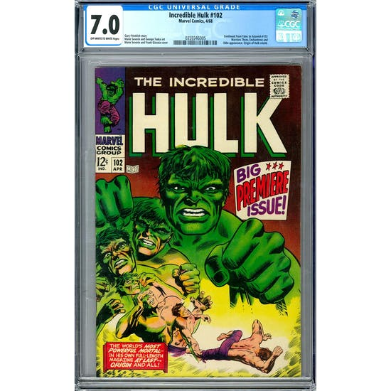 Incredible Hulk #102 CGC 7.0 (OW-W) *0359346005*