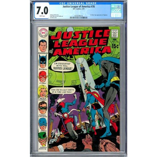 Justice League of America #78 CGC 7.0 (W) *03593463016*