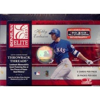 2003 Donruss Elite Baseball Hobby Box