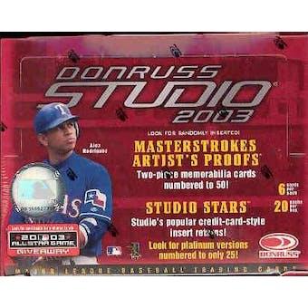2003 Donruss Studio Baseball Hobby Box
