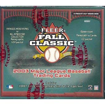 2003 Fleer Fall Classic Baseball Hobby Box
