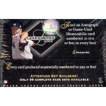 2003 Leaf Limited Baseball Hobby Box