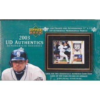 2003 Upper Deck Authentics Memorabilia Baseball 10 Pack Hobby Box (w/o Topper)
