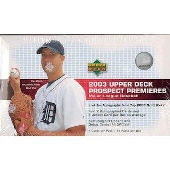2003 Upper Deck Prospect Premieres Baseball Hobby Box