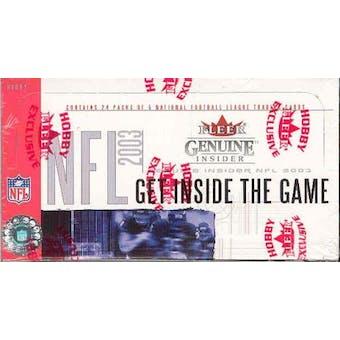 2003 Fleer Genuine Insider Football Hobby Box