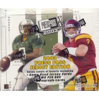 2003 Press Pass Jersey Edition Football Hobby Box
