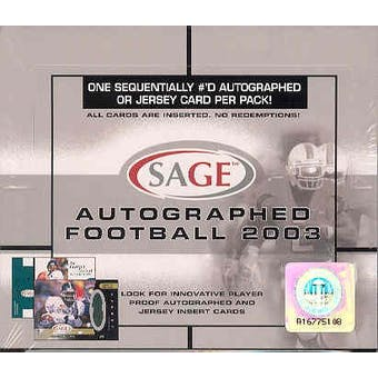 2003 Sage Autographed Football Hobby Box