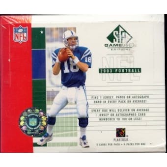2003 Upper Deck SP Game Used Football Hobby Box