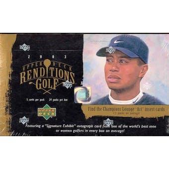2003 Upper Deck Renditions Golf Hobby Box