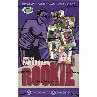 2003/04 Be A Player Parkhurst Rookie Hockey Hobby Box