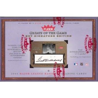 2004 Fleer Greats Of The Game Cut Signature Edition Baseball Hobby Box