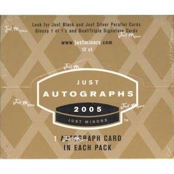 2005 Just Minors Just Autographs Baseball Hobby Box