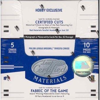2005 Leaf Certified Materials Baseball Hobby Box