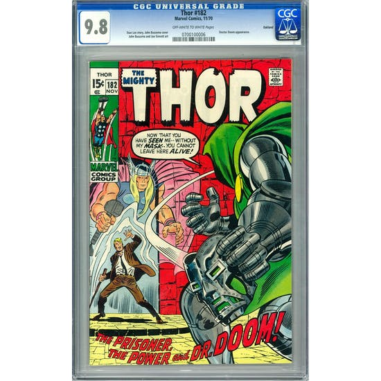 Thor #182 CGC 9.8 Oakland Pedigree (OW-W) *0700100006*